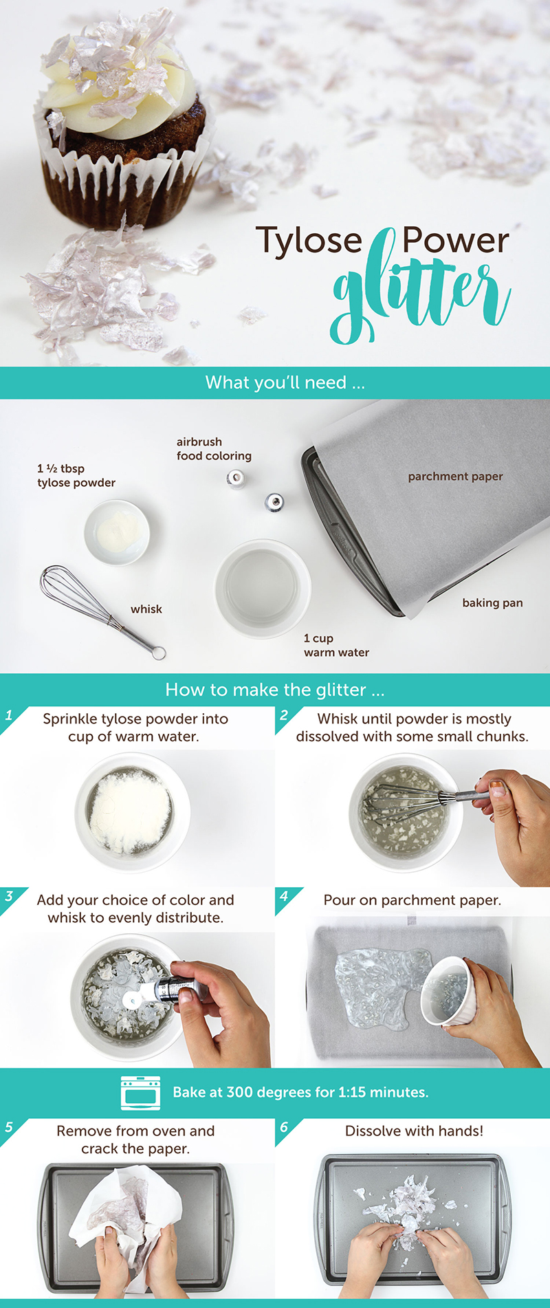 How to make tylose powder based edible glitter.