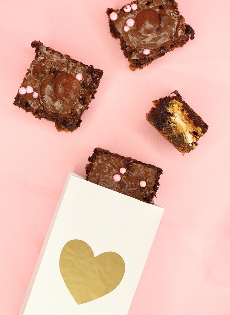 Vanilla cookie stuffed chocolate brownies recipe.