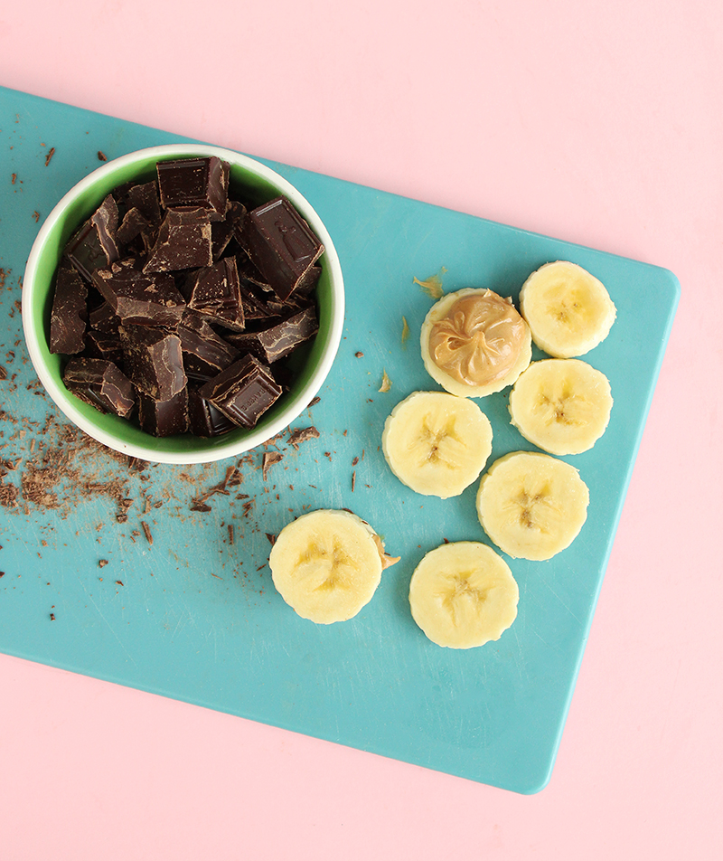 Chocolate, banana and peanut butter snacks.