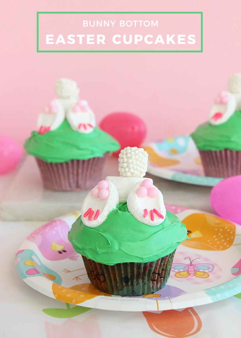 Bunny Bottom Easter Cupcakes.