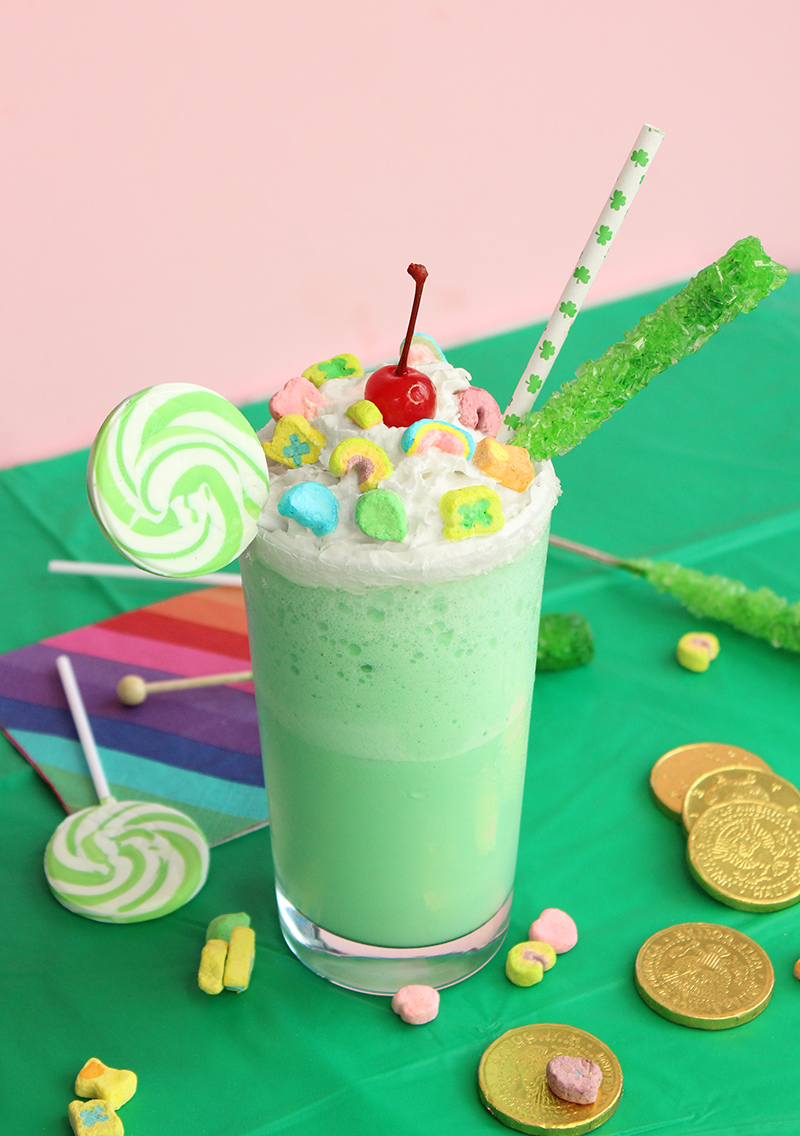 A homemade Shamrock Shake with candy.