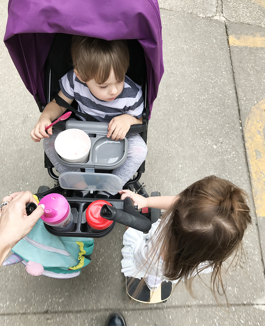 Leaving the Swissotel with two toddlers.