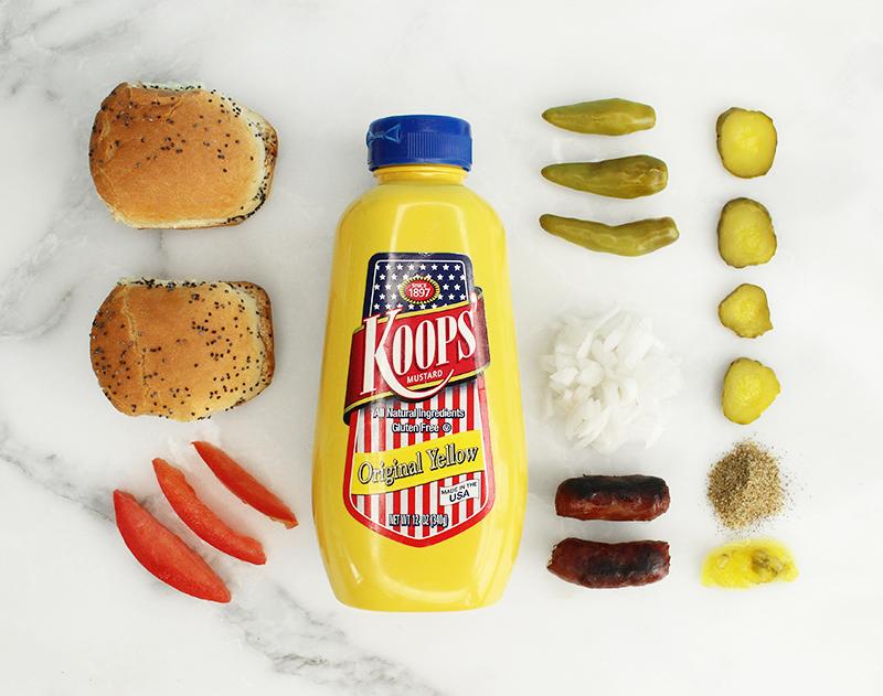 Mini Chicago style hot dog ingredients.