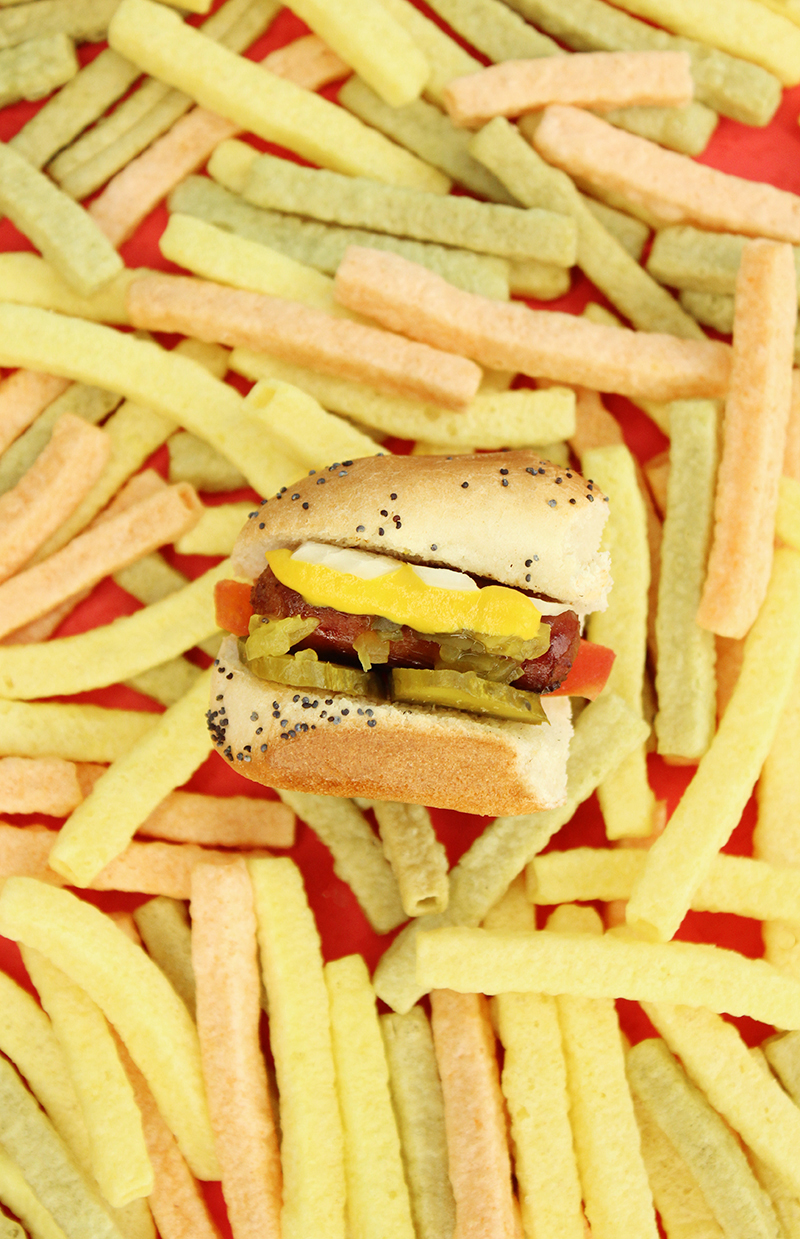 Mini Chicago style hot dogs with veggie fries.