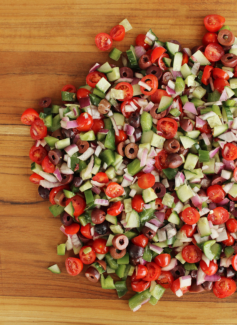 Greek vegetables for Greek salsa.