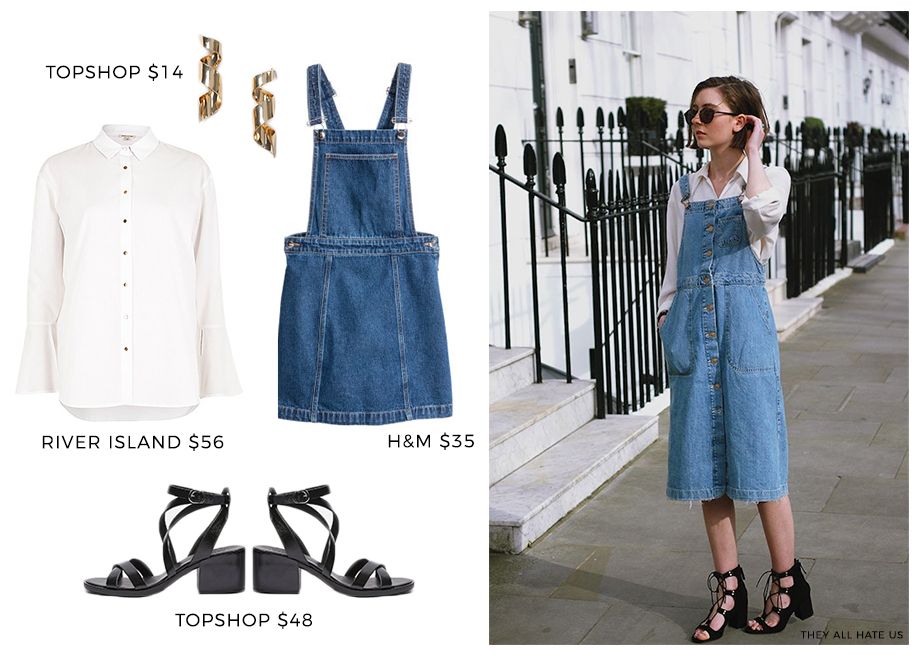 How to wear denim overalls with a white blouse.