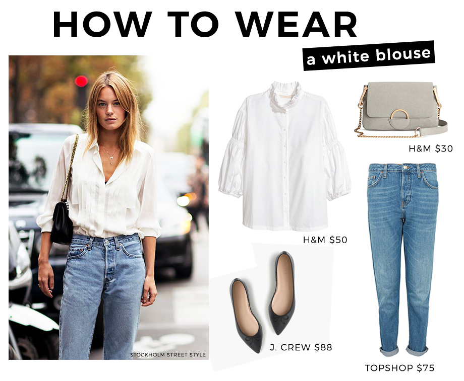 How to wear a white blouse with jeans.