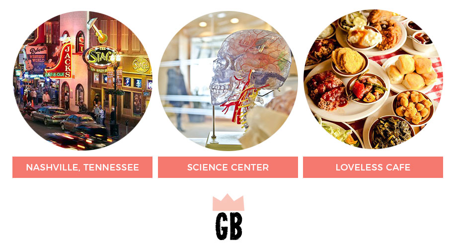 What to do in Nashville: The Science center and the Loveless Cafe.