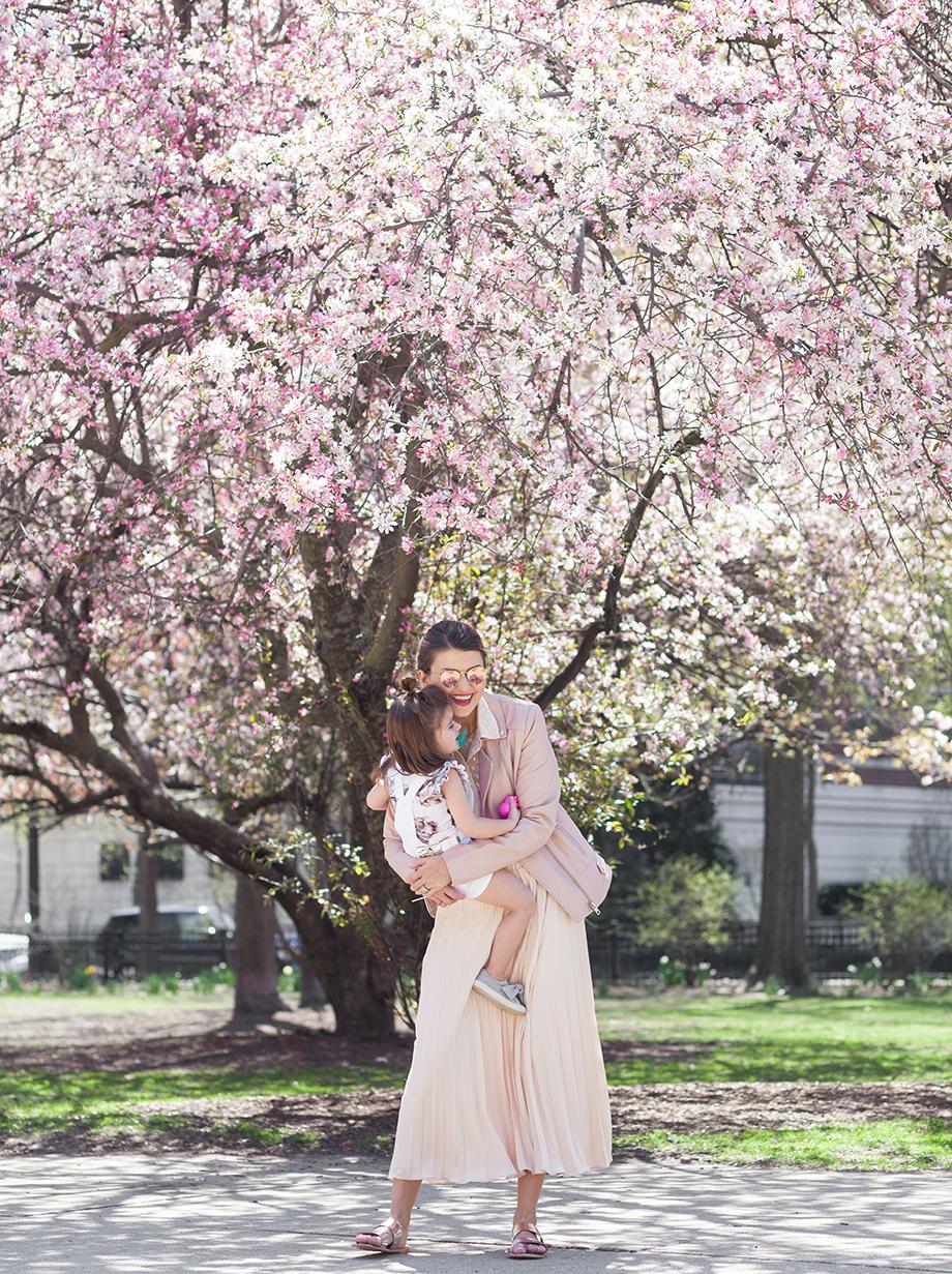 Pastel pink spring mother daughter fashion.