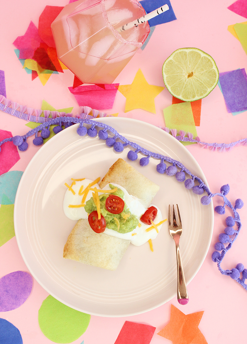 A kid-friendly recipe for mini burritos and an adult recipe for margaritas.