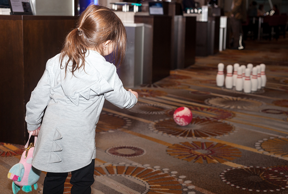 Bowling inside at the Swissotel with The Land of Nod.