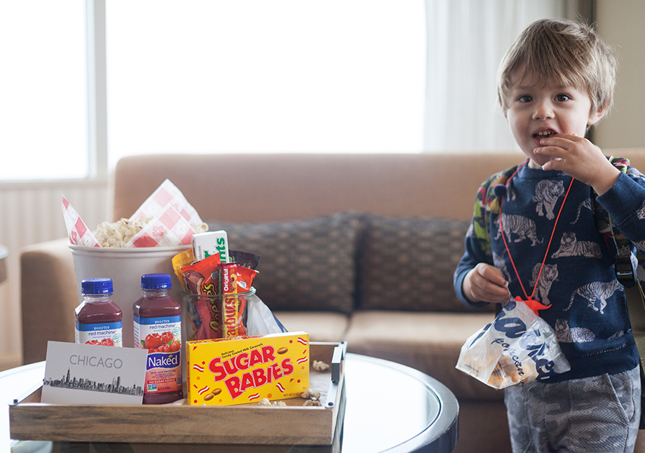 Eating Candy in the Kids Suite at the Swissotel.