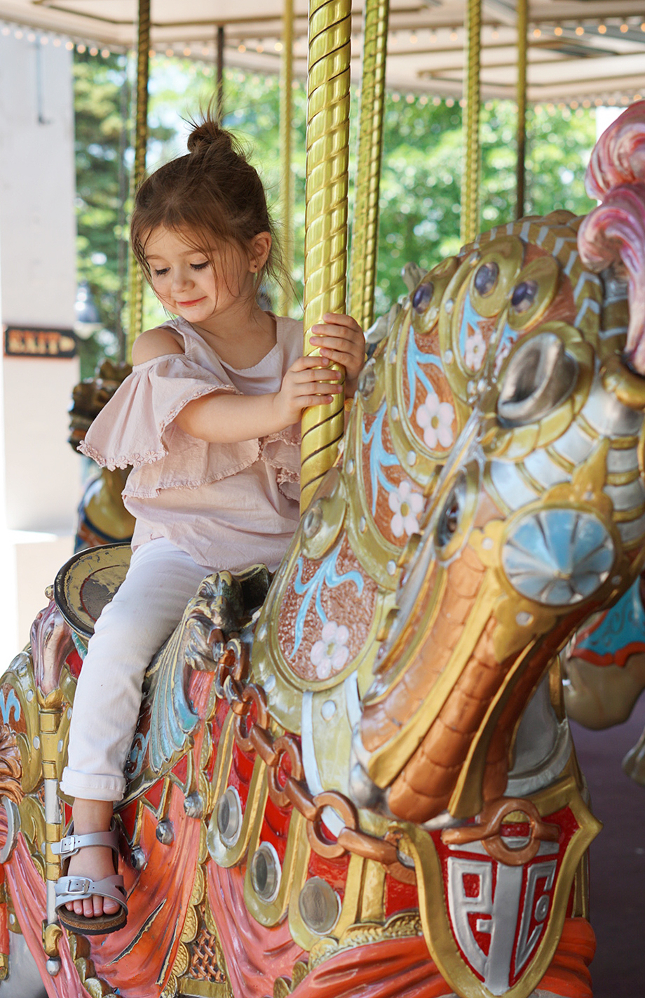 Zelda on the carousel at Six Flags.