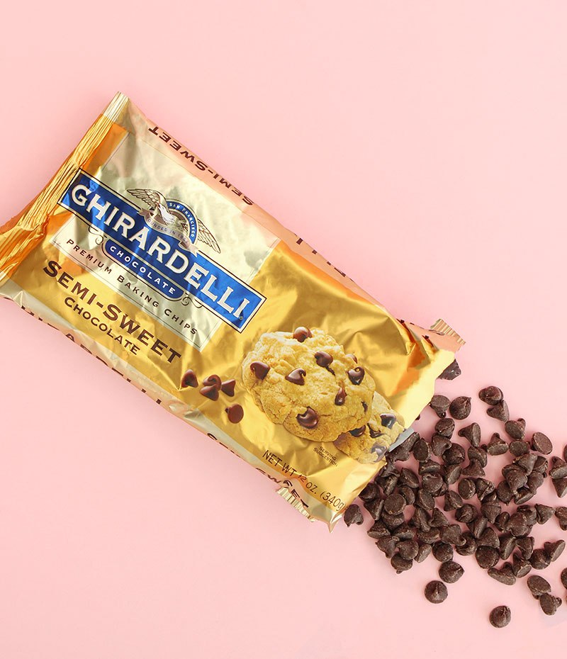 Chocolate chips from Ghiradelli.