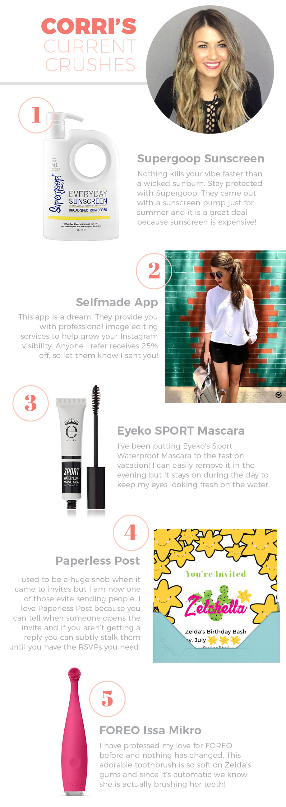 Supergoop Sunscreen, Paperless Post and more things Corri is crushing on in July!