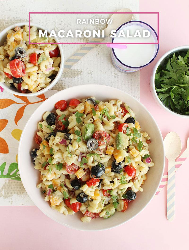 An easy recipe for rainbow macaroni salad.