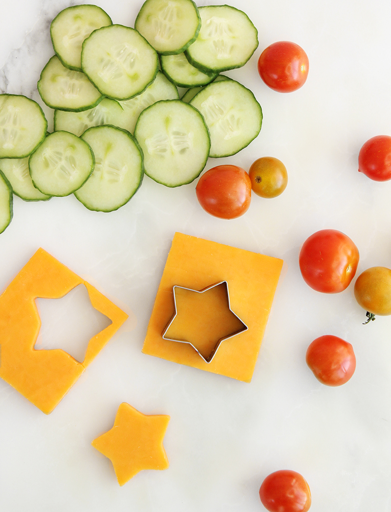 Cheese, tomatoes and cucumbers for back to school do it yourself lunchables.