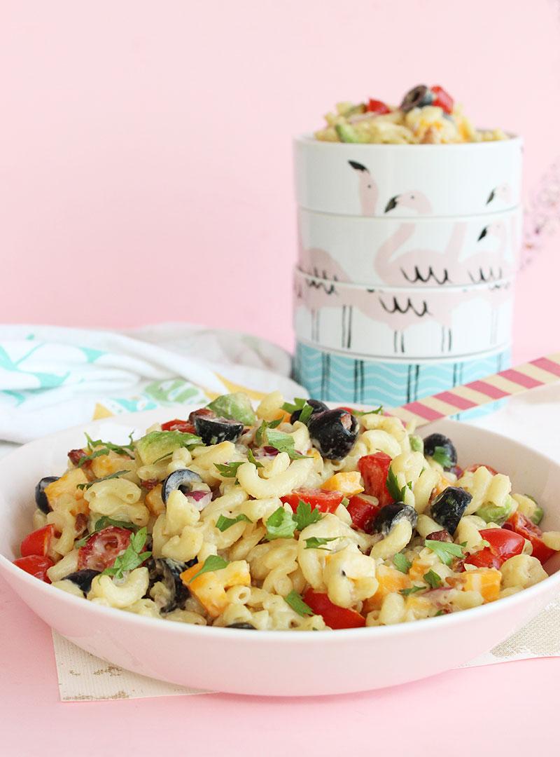 How to make rainbow macaroni salad.