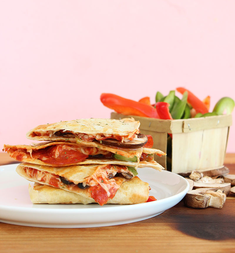 An easy and kid friendly recipe for pizza quesadillas.