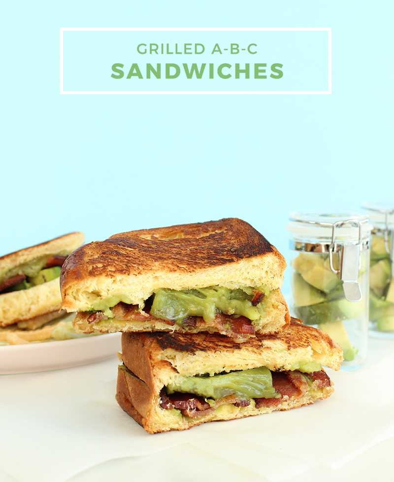 Grilled ABC Sandwiches with Avocado, Bacon and Cheese.