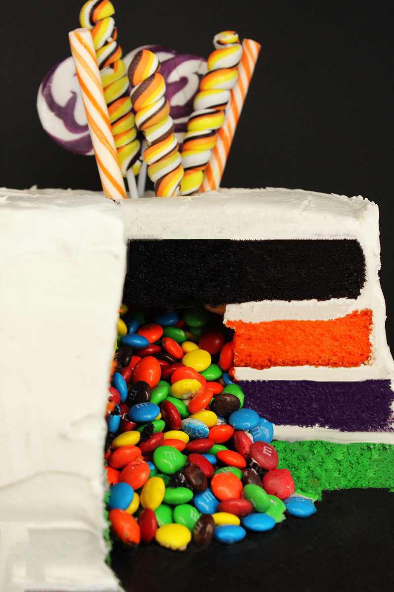 A trick or treat Halloween layer cake.