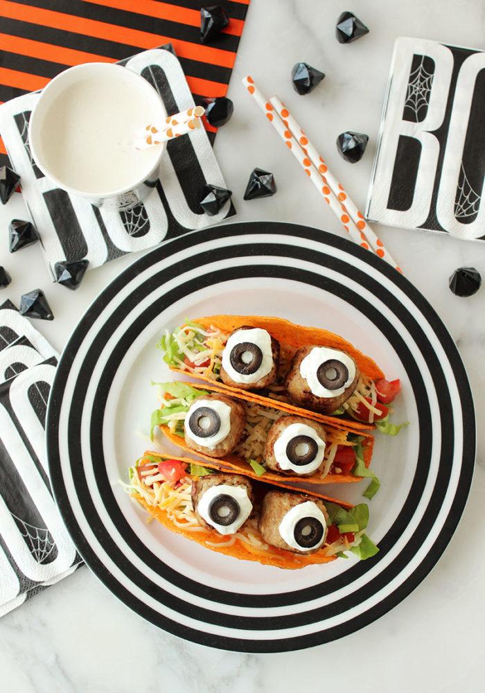 A delicious Halloween recipe for Monster Eyeball Tacos.
