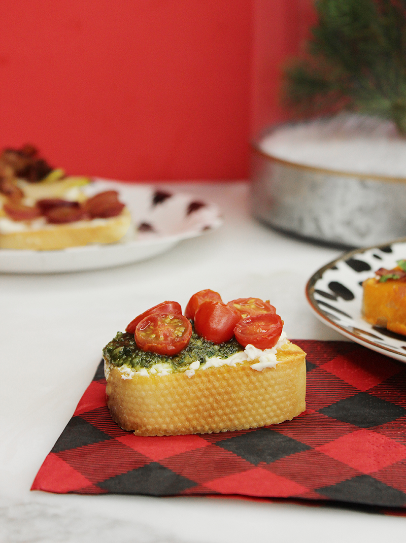A holiday crostini appetizer for kids and adults.