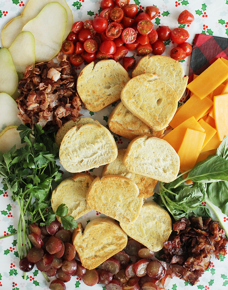 How to build crostini for a kid-friendly holiday appetizer.