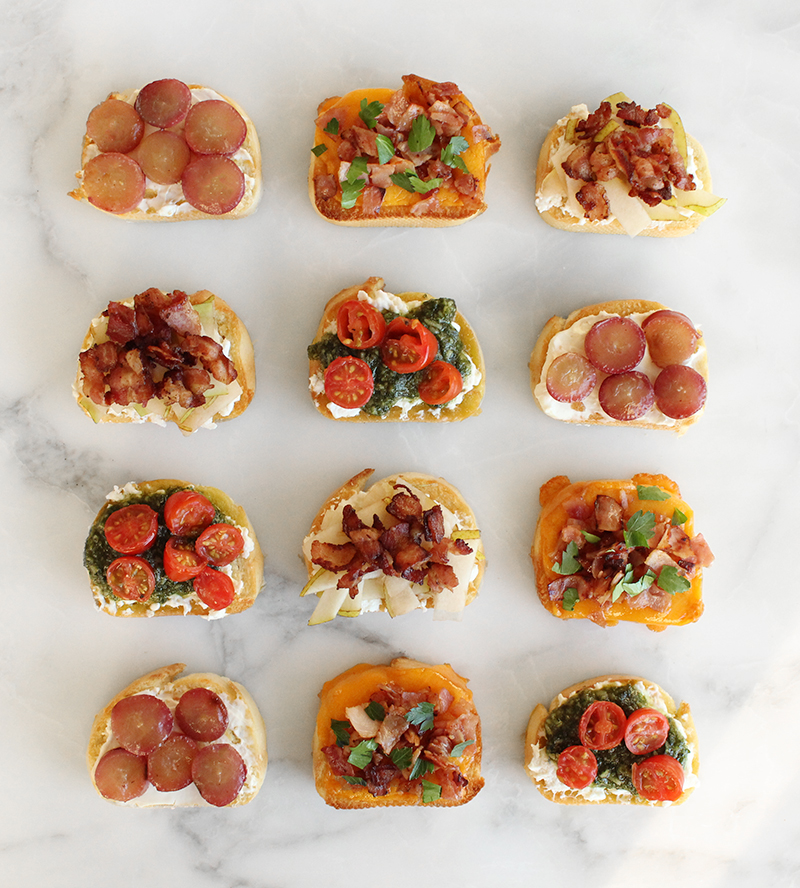 A variety of crostini appetizers for kids and adults.