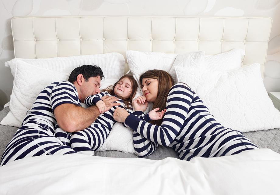 Co-sleeping in matching pajamas.