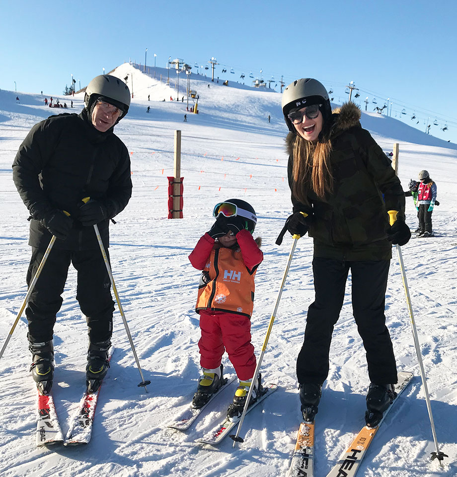 Family goal setting with skiing at Wilmot Mountain.