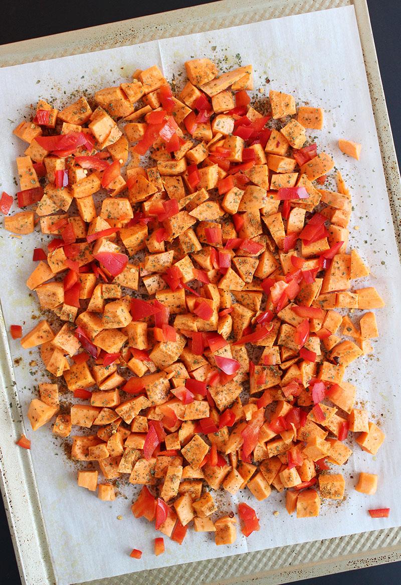 Roasting sweet potatoes for veggie feta salad.