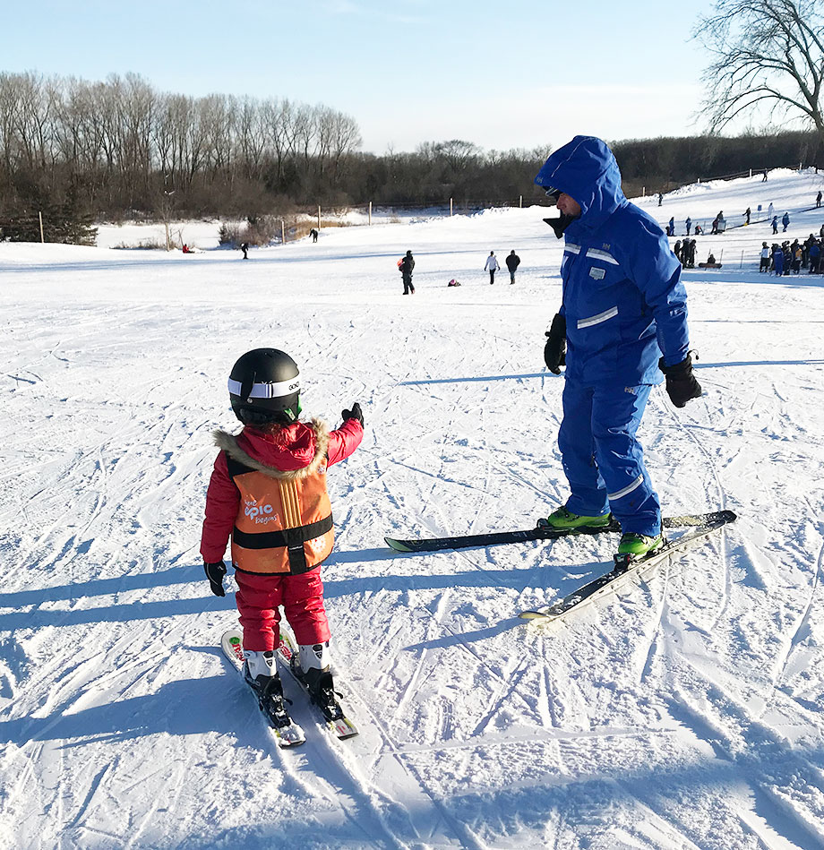 Family goal setting: skiing lessons at Wilmot Mountain.