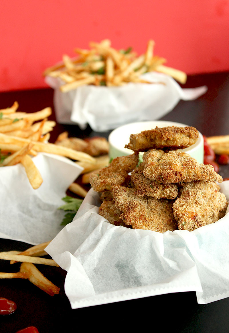 Homemade skinny fries with mini chicken schnitzel by Glitter and Bubbles.