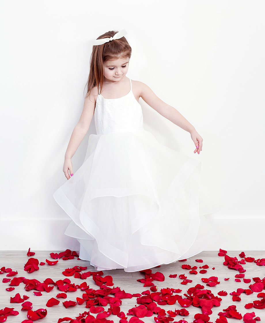 A white flower girl dress from David's Bridal.