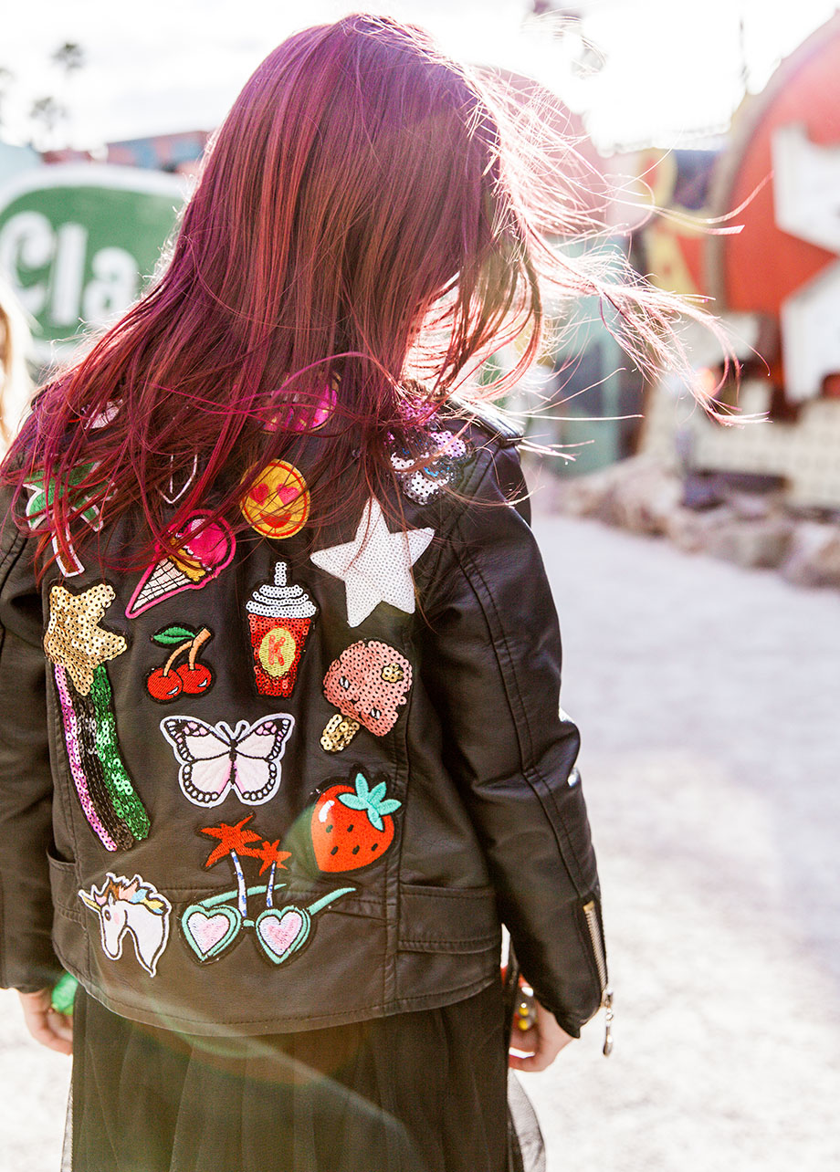 A Lola + the Boys leather patch jacket.