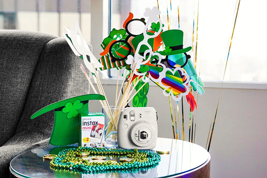St. Patrick's Day accessories at the Swissotel Kids Suite with Glitter and Bubbles.