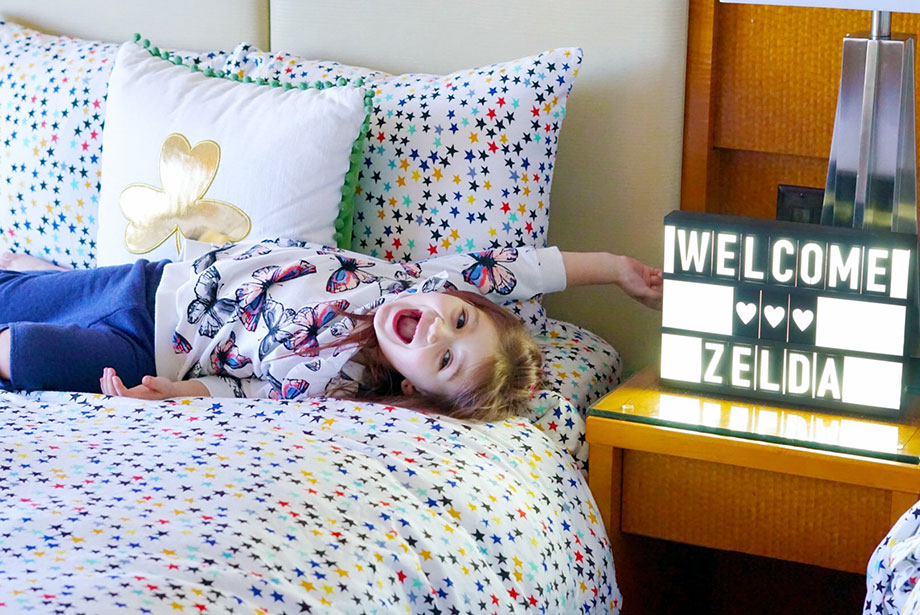 Zelda of Glitter and Bubbles stays in the Kids Suite at the Swissotel on St. Patrick's Day.