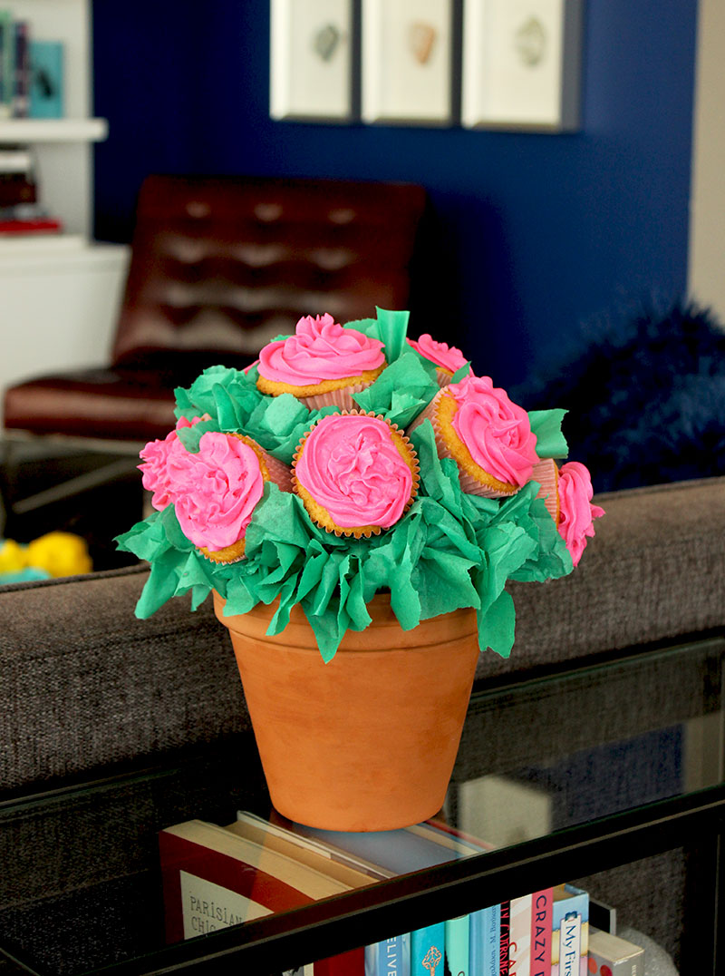 A floral cupcake bouquet for Mother's Day.