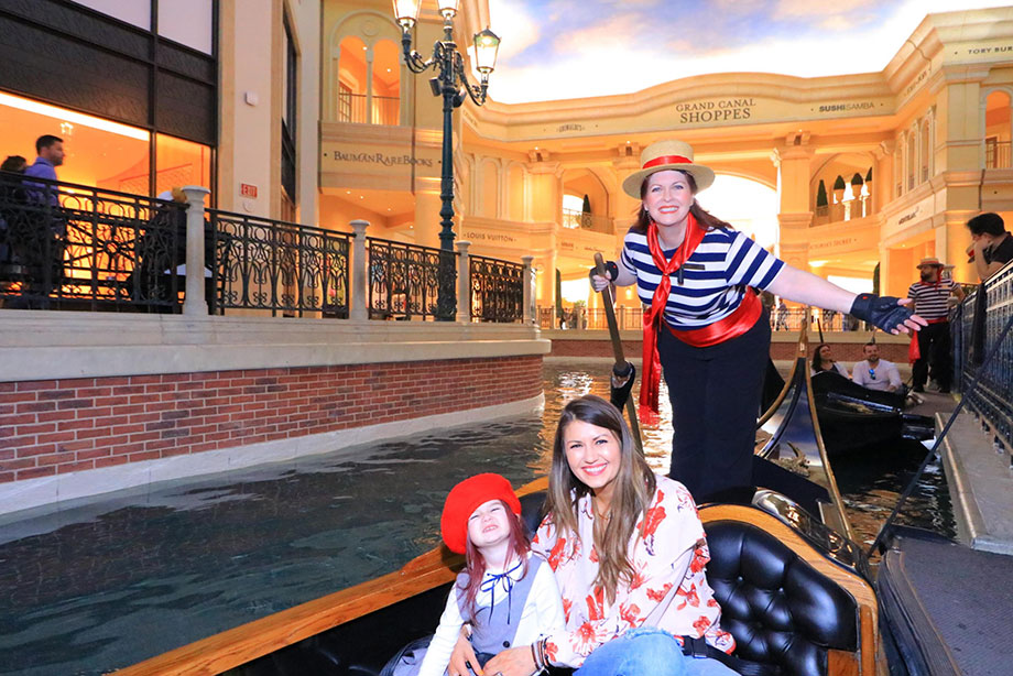 Corri McFadden and her daughter Zelda take a gondola ride in Las Vegas.