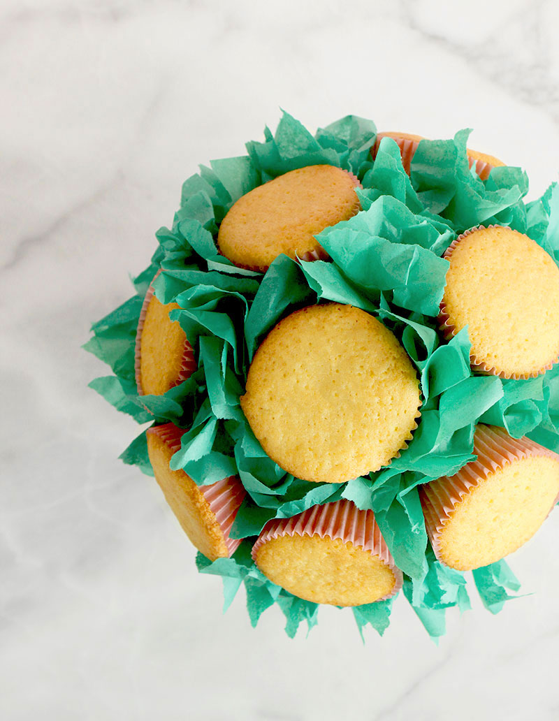 A cupcake bouquet made from cupcakes, a terra cotta pot and green tissue paper.