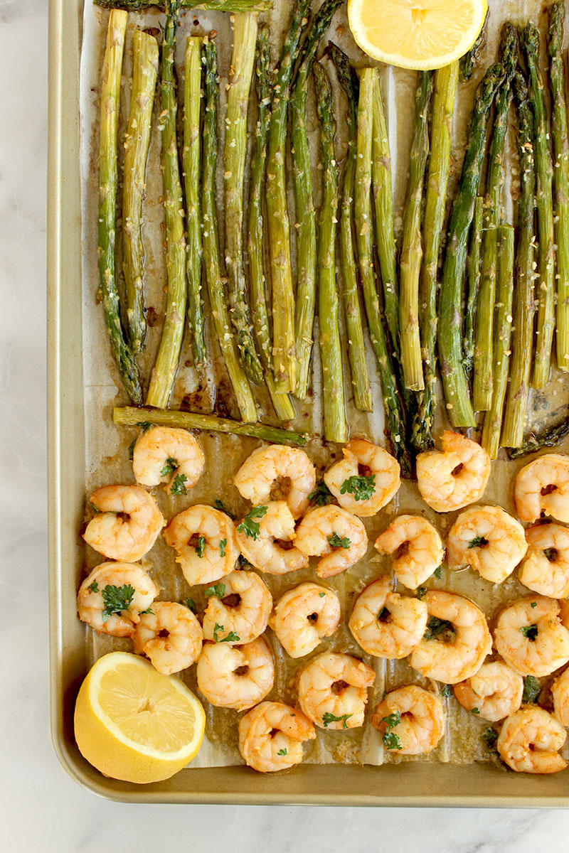 An easy dinner recipe for garlic butter shrimp with roasted asparagus.