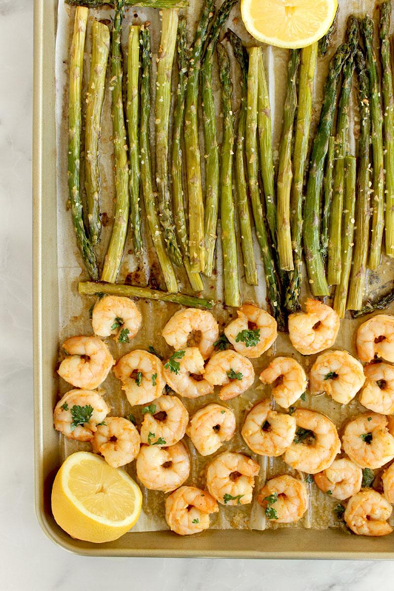 An easy dinner recipe for garlic butter shrimp with roasted asparagus.