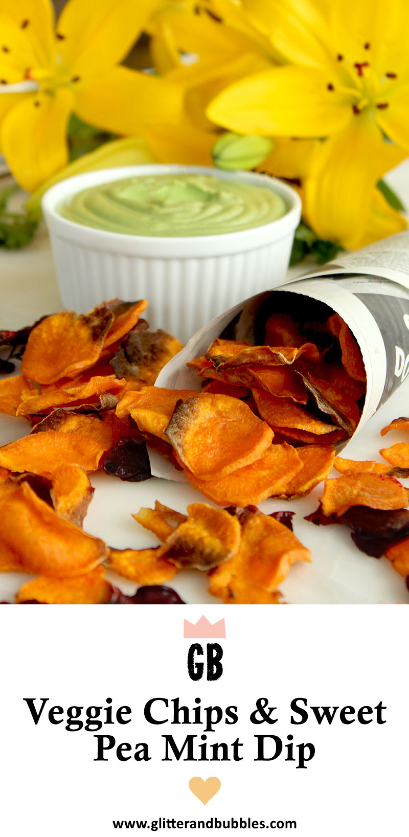 Homemade sweet potato chips are shown next to sweet pea mint dip.