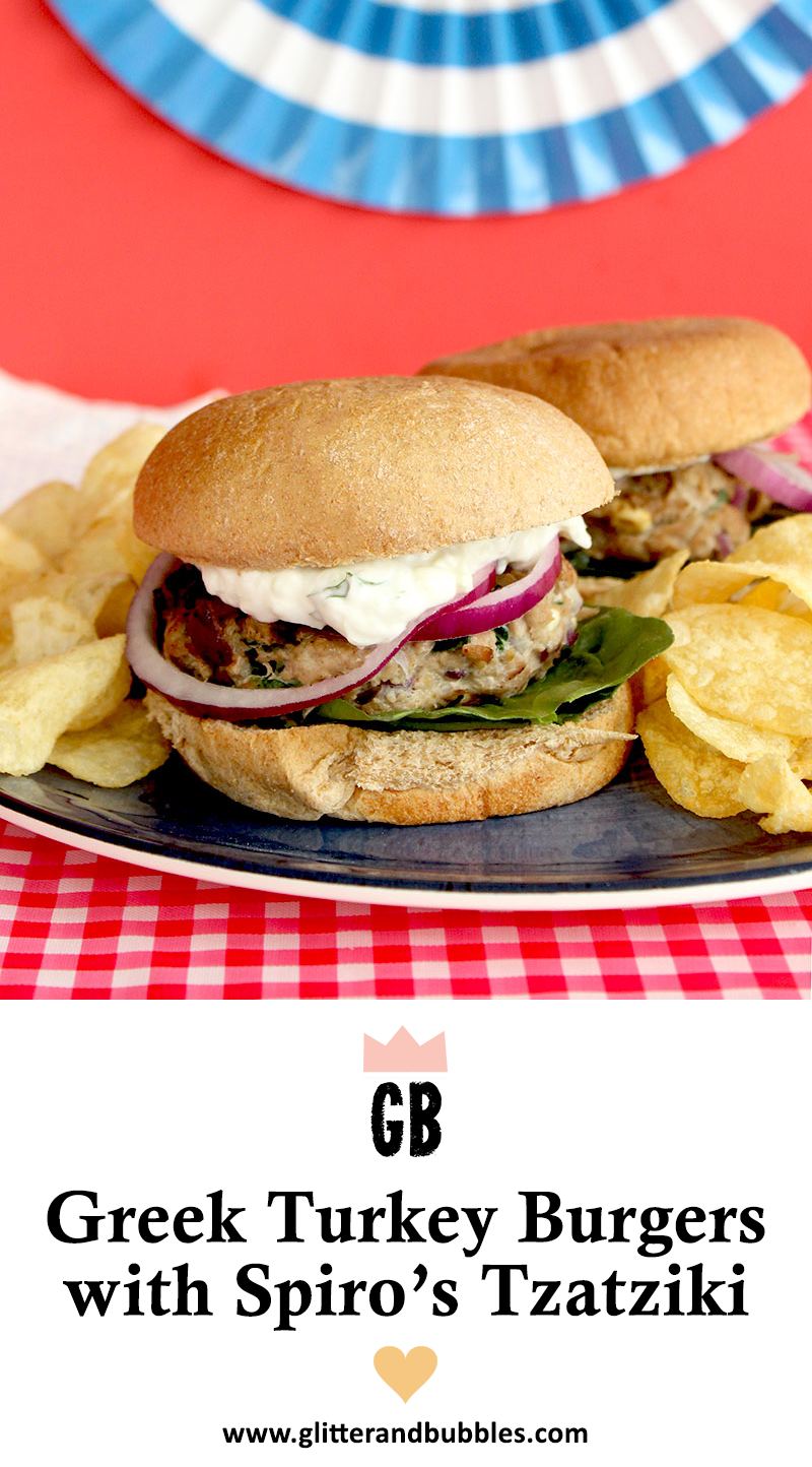 A simple recipe for 4th of July Greek Turkey Burgers.