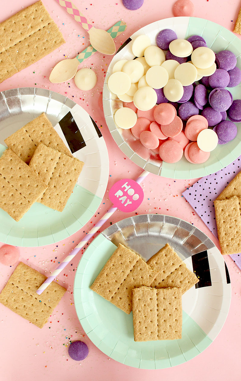 A Bash Party Goods plate filled with chocolates, sprinkles and graham crackers.