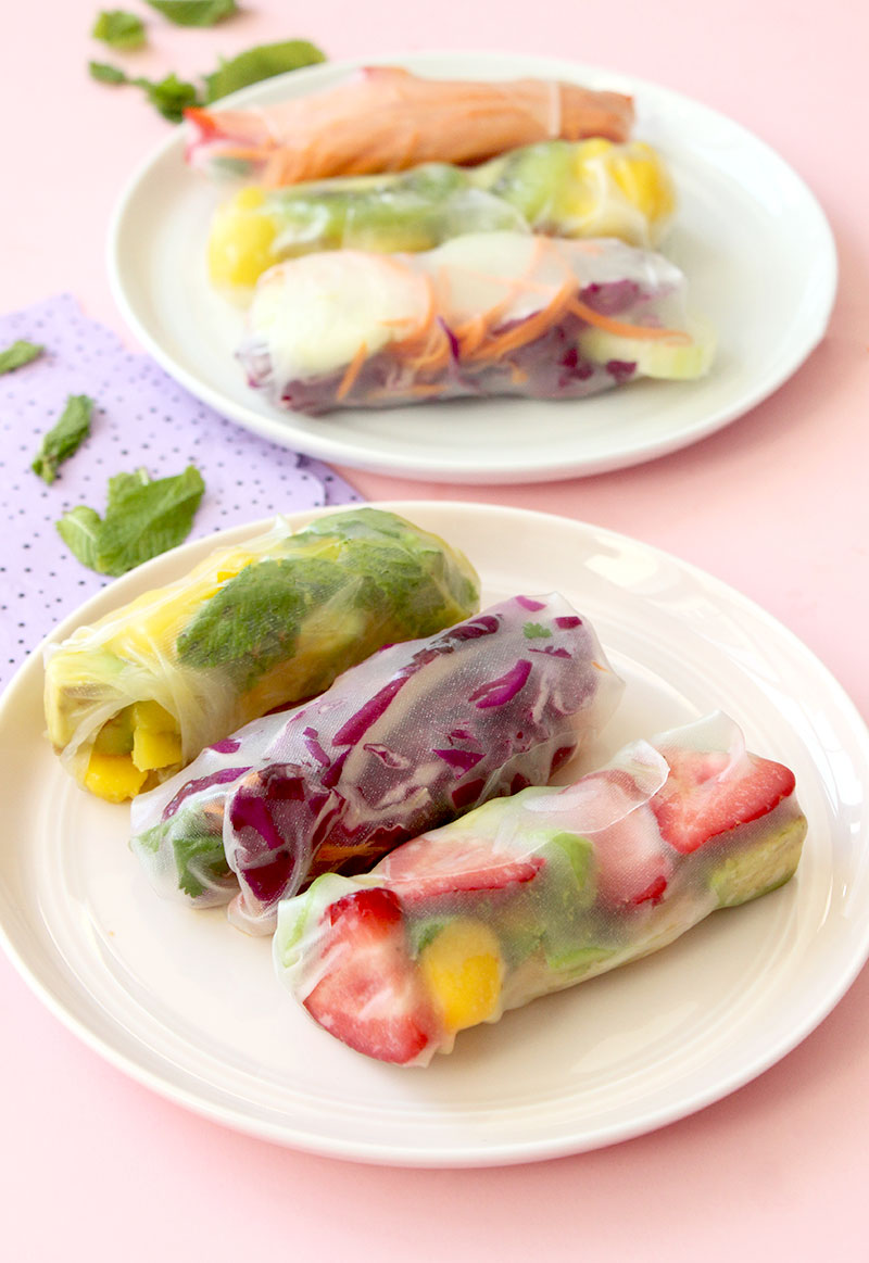 Vegetable and fruit rainbow spring rolls on Glitter and Bubbles.