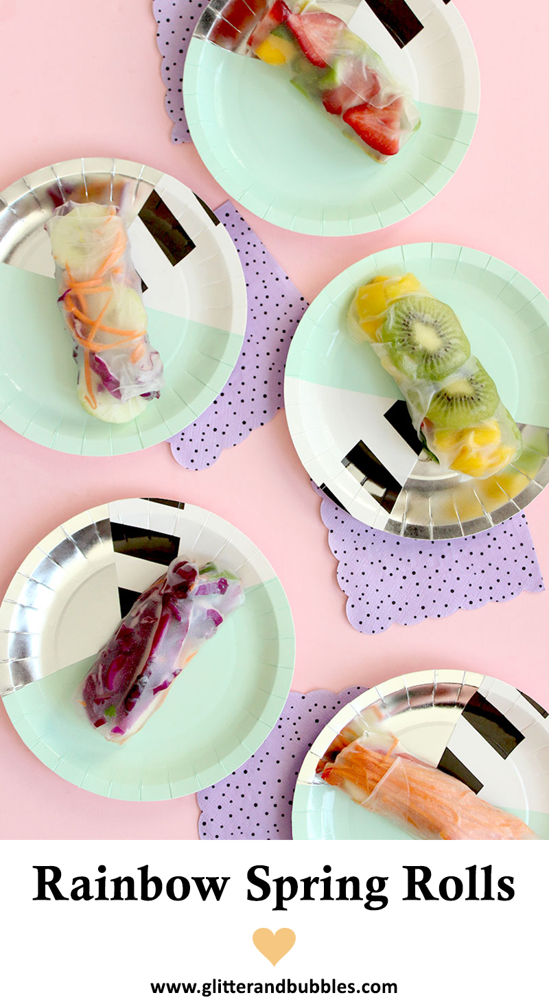Rainbow Spring Rolls sits on paper plates from Bash Party Goods.