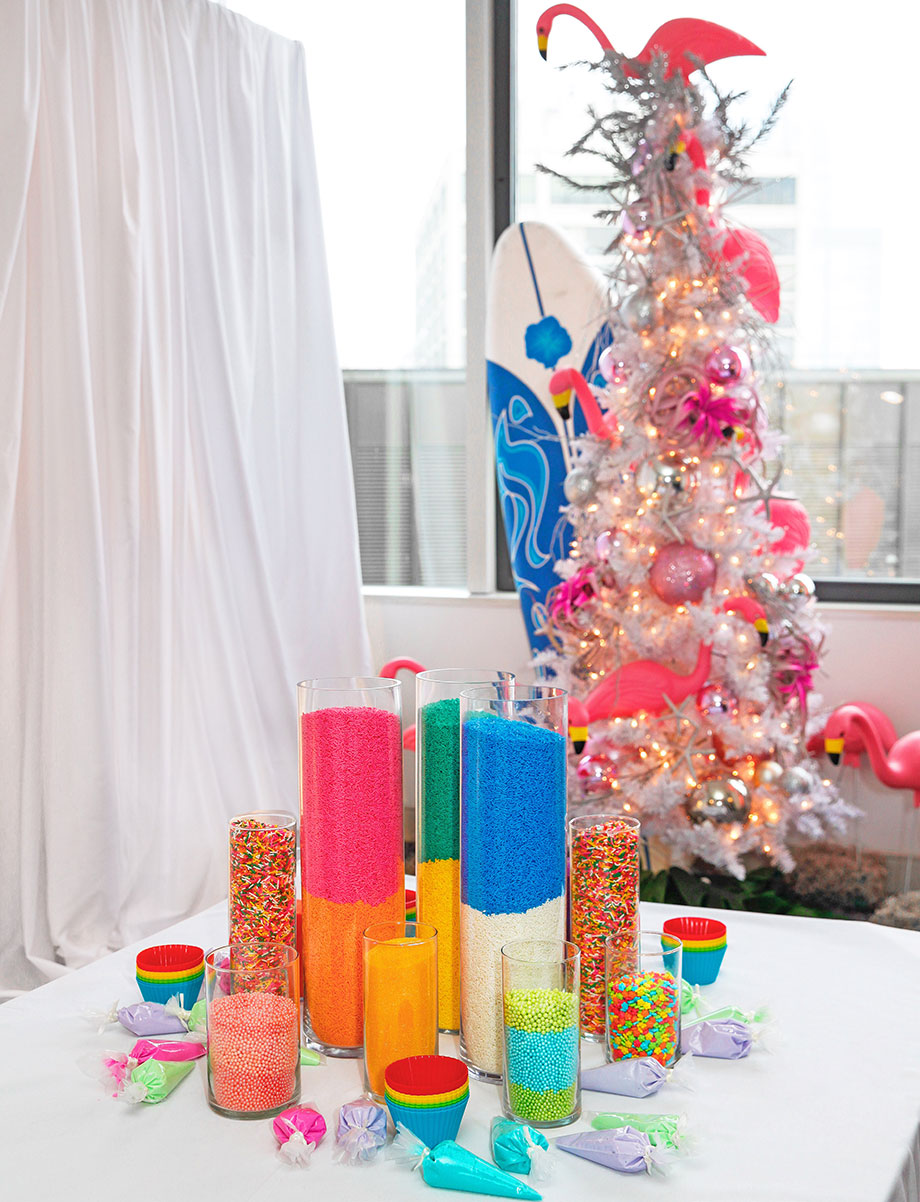 A sprinkle tower for cookie decorating.