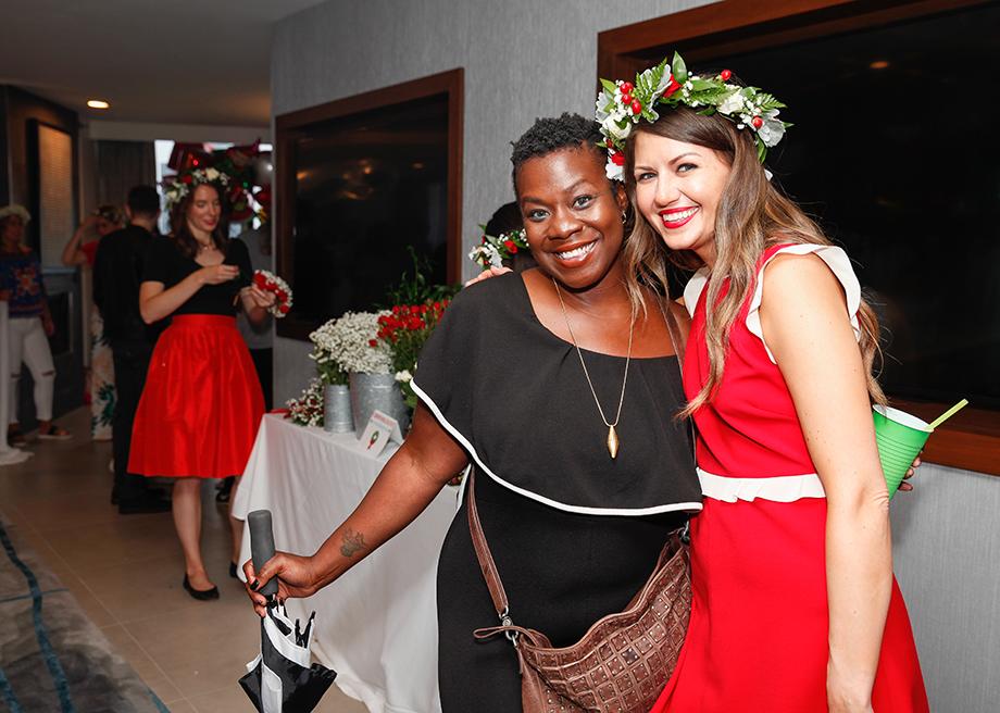 Corri McFadden wears a flower crown at Zelda's birthday party.